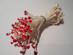 100 x wired Flower stamens, White stem & Red head, Double headed, Perfect for sugarcraft, crafts